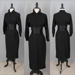 Vintage 50s Traina-Norell Black Cocktail Dress M